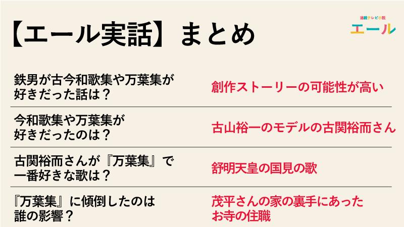 【エール実話】鉄男が古今和歌集や万葉集が好きだった話は本当なのか実話まとめ