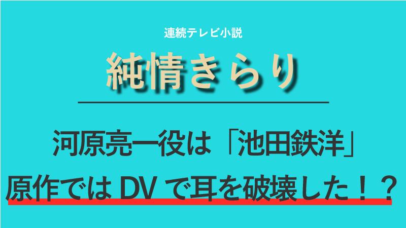 『純情きらり』河原亮一役は池田鉄洋!原作ではDVで耳を破壊した!?