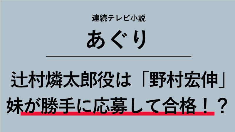 『あぐり』辻村燐太郎役は野村宏伸!妹が勝手に応募して合格!?